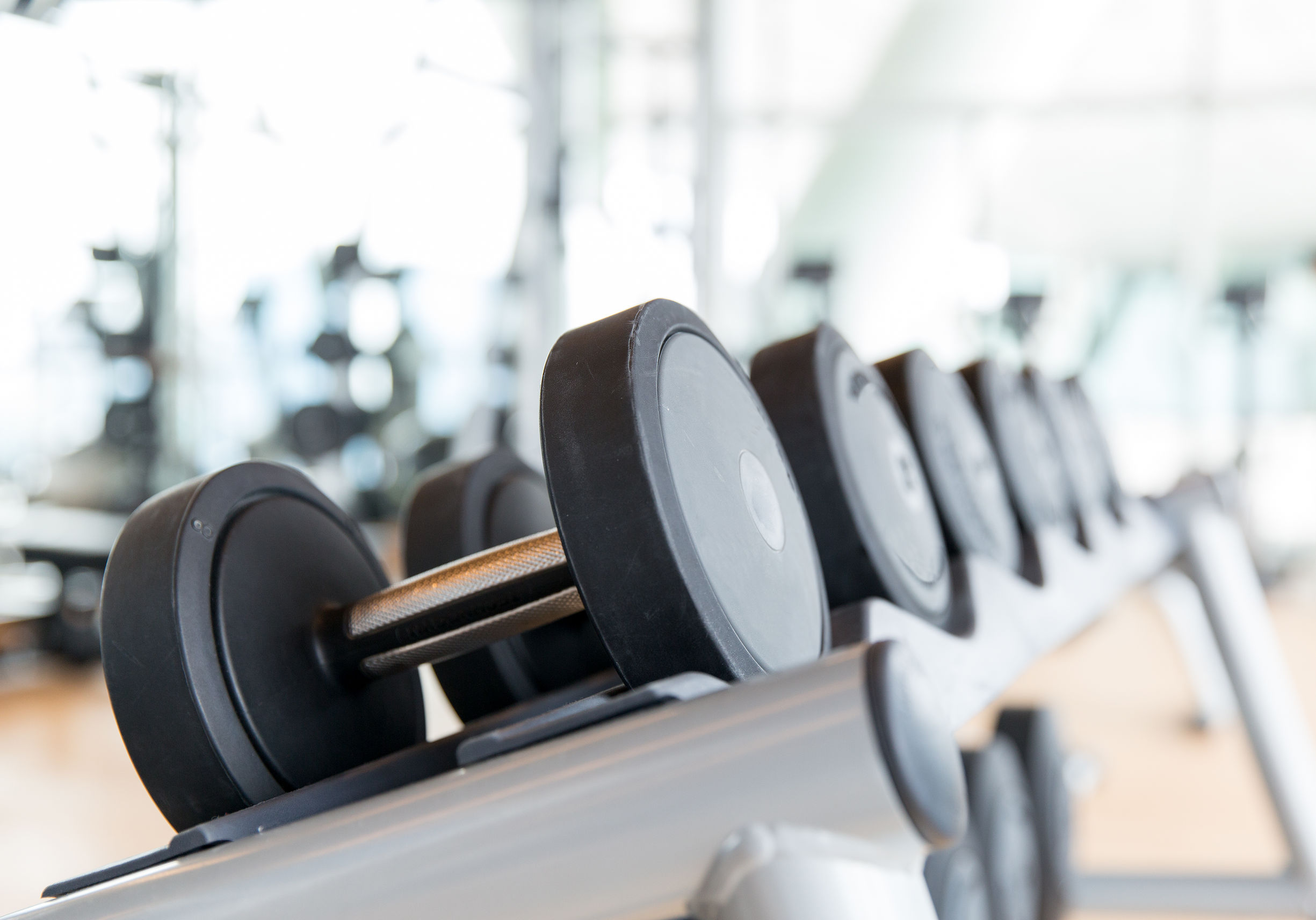 close up of dumbbells in gym